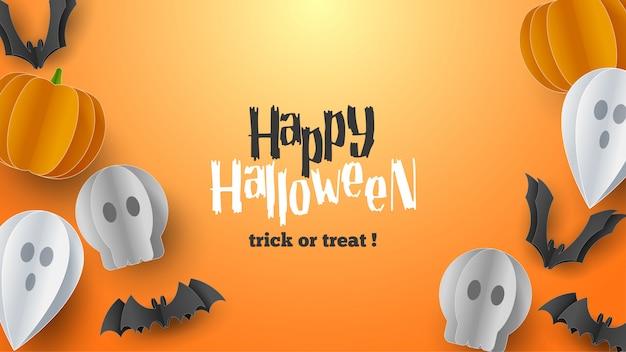 Счастливый хэллоуин баннер фон с облаками и тыквы в стиле бумаги вырезать. полная луна в небе, паутина, череп, призрак и летучие мыши. Premium векторы