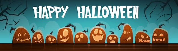Happy halloween banner different pumpkins traditional decoration Premium Vector
