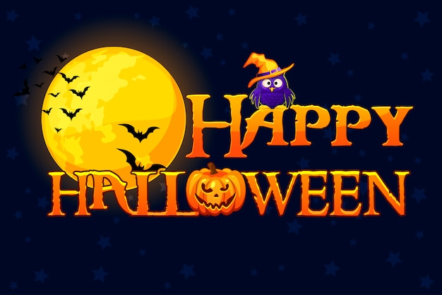 Счастливый баннер хэллоуина. счастливый плакат хэллоуина, концепция карты. Premium векторы