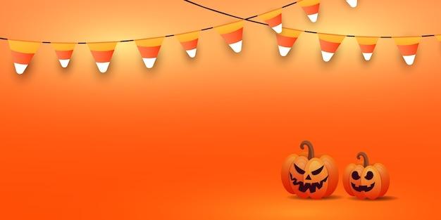 スタイリッシュなカボチャの顔、オレンジ色のグラデーションの背景に輝くキャンディーの花輪とハッピーハロウィンバナーまたはパーティの招待状の背景。 Premiumベクター