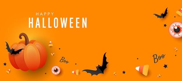 ハッピーハロウィンバナー。オレンジ色のカボチャ、色のキャンディー、オレンジ色の背景に大きなeye.bats。横の休日のポスター、ウェブサイトのヘッダー Premiumベクター