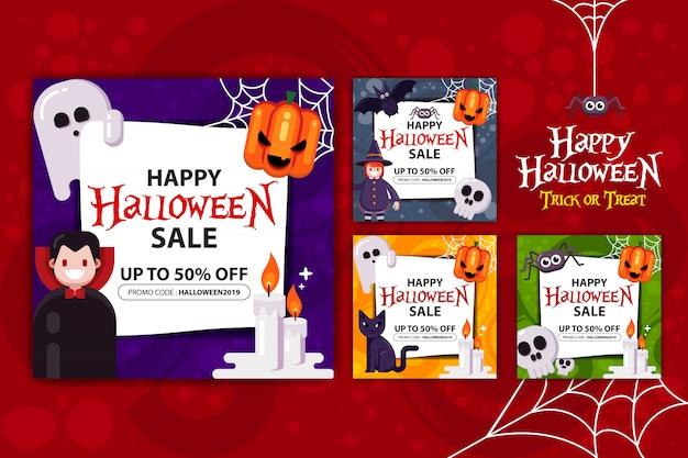 Happy halloween banner promotion set Premium Vector