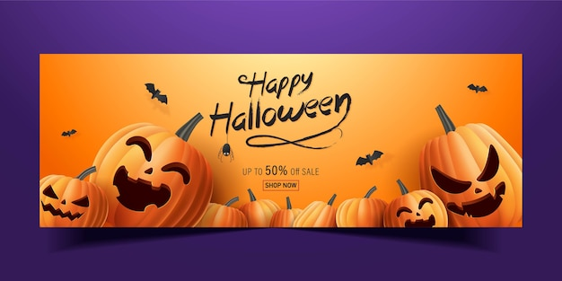 Happy halloween banner, sale promotion banner with bats and halloween pumpkins  . 3d   illustration Premium Vector