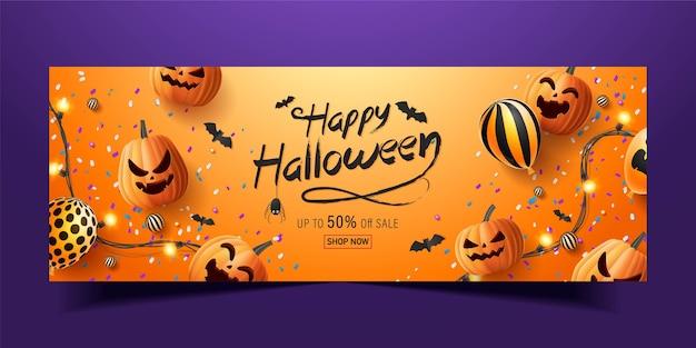 Happy halloween banner, sale promotion banner with halloween candy,  glowing garlands, balloon and halloween pumpkins  . 3d   illustration Premium Vector