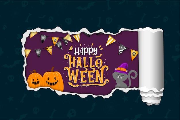 Bandiera di halloween felice con gatto nero e zucche. Vettore gratuito