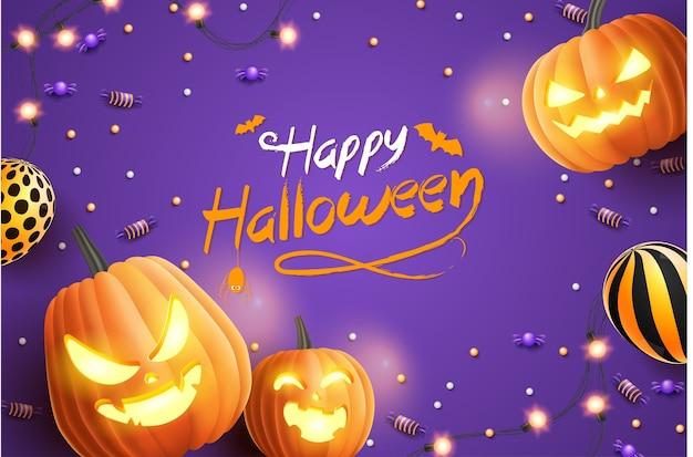 ハッピーハロウィンバナー、ハロウィーンのキャンディー、輝く花輪、風船、紫色の背景にハロウィーンのカボチャ。 3dイラスト Premiumベクター