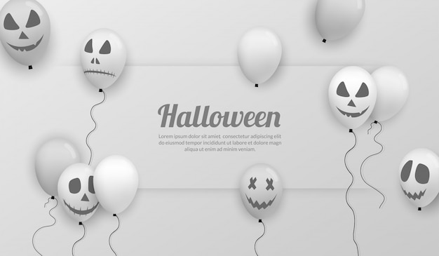 Happy halloween banner with realistic balloon for party celebration Premium Vector