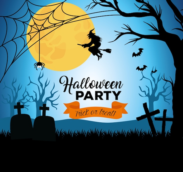 Happy halloween banner with silhouette witch flying and decoration on dark night Premium Vector