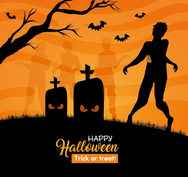 Happy halloween banner with silhouette of zombie in cemetery Premium Vector