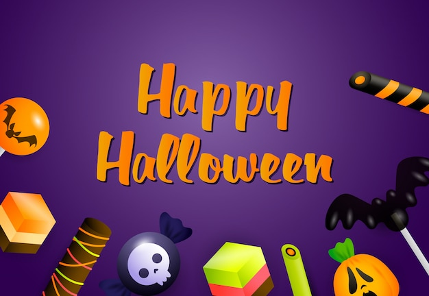 Happy halloween banner with sweets Free Vector