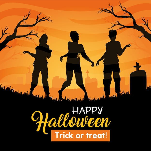 Happy halloween banner with zombies silhouette in cemetery Premium Vector