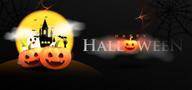 Happy halloween banner Premium Vector