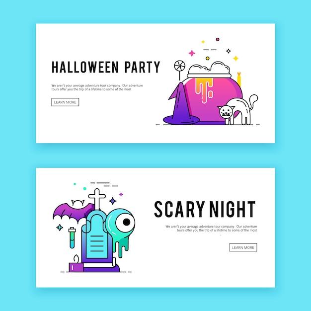 Happy halloween. banners set. Free Vector