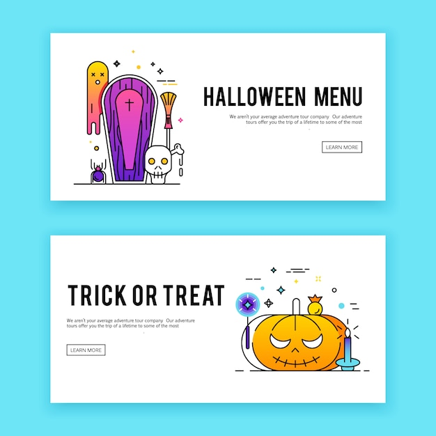 Happy halloween. banners set Free Vector