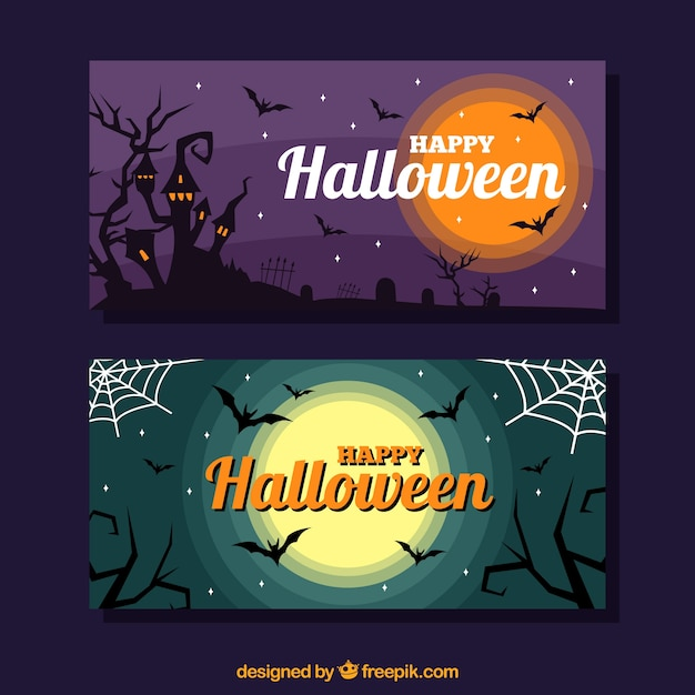 Happy halloween banners with castle and\ moon