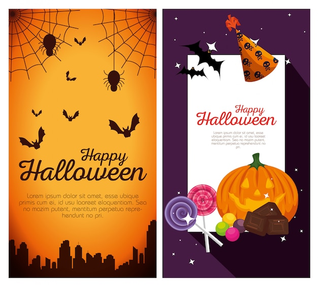 Happy halloween banners Free Vector