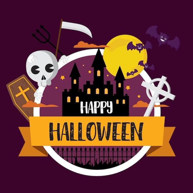 Happy halloween bat and skull in castle moon background Premium Vector