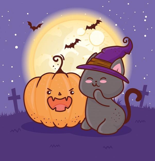 해피 할로윈, 묘지 벡터 일러스트 디자인에 모자 마녀를 사용하는 귀여운 고양이와 박쥐 프리미엄 벡터