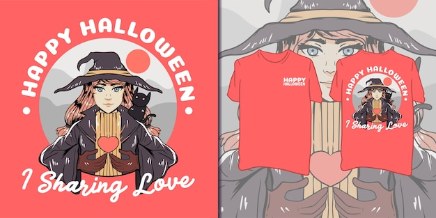Happy halloween. beautiful witch illustration for t-shirt Premium Vector