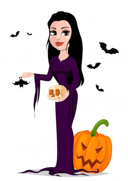 Happy halloween. beautiful witch Premium Vector