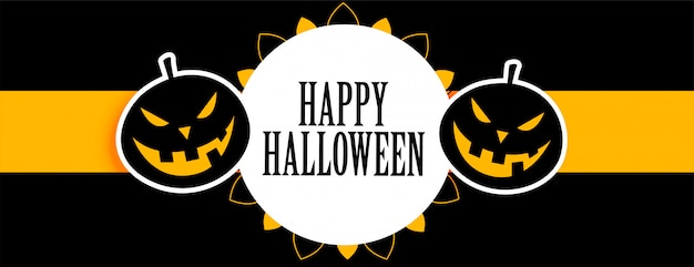 Happy halloween black and yellow banner with laughing pumpkins Free Vector