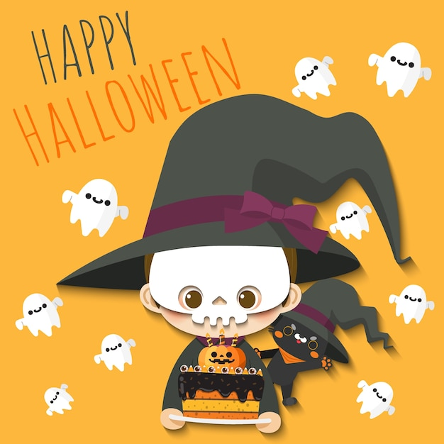 Happy halloween boy and cat wearing witch costumed. Premium Vector