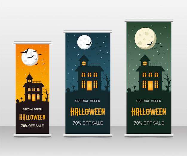 Happy halloween business roll up template set, illustration Premium Vector