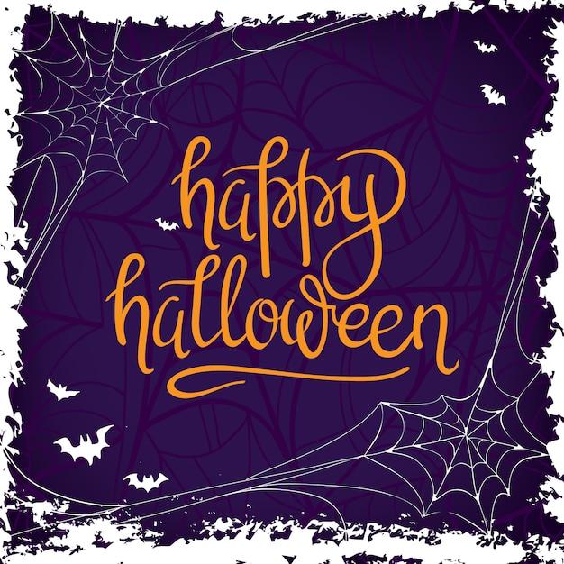 Happy Halloween Calligraphy. Halloween banner.\ Halloween lettering. Bat silhouette