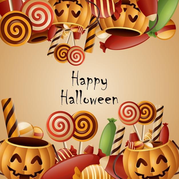Premium Vector Happy Halloween Card Pumpkins Basket With Candy