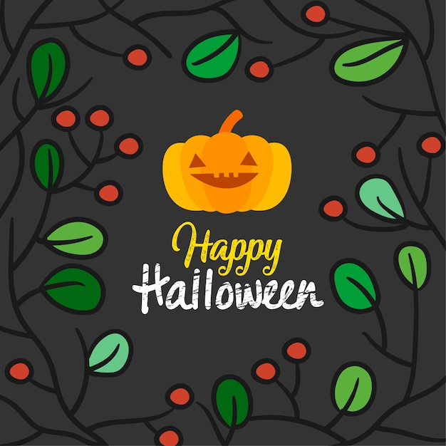 Happy halloween card vector illustration. Premium Vector