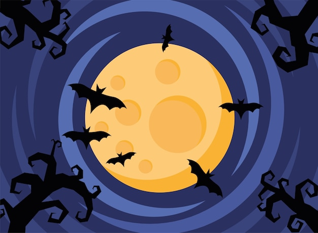 박쥐 비행 및 풀 문 장면 벡터 일러스트 디자인 해피 할로윈 카드 프리미엄 벡터