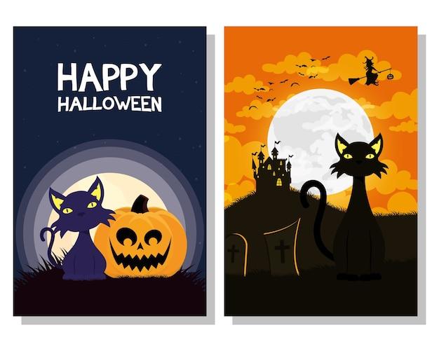 검은 고양이 마스코트와 마녀 비행 장면 벡터 일러스트 디자인 해피 할로윈 카드 프리미엄 벡터