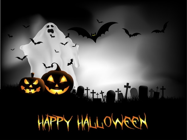 Happy halloween card with ghost and bats in the graveyard Free Vector