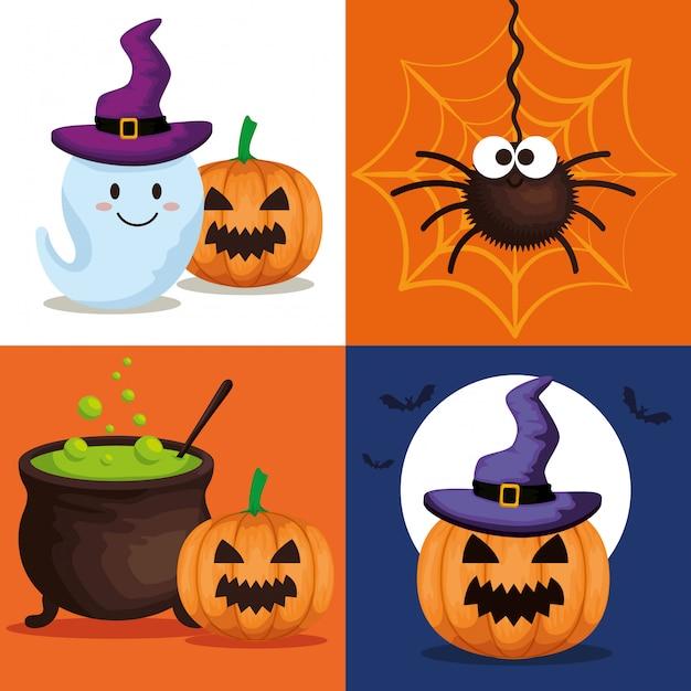 Счастливая открытка на хэллоуин с набором иконок Бесплатные векторы
