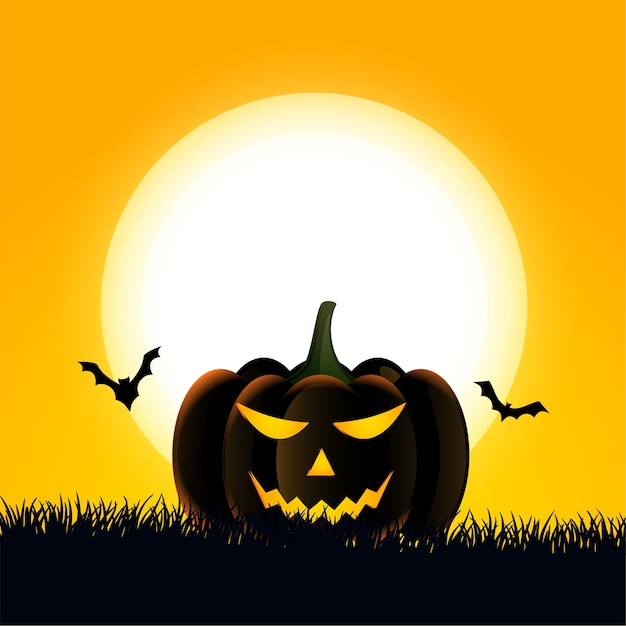 Happy halloween card with scary pumpkin and bats Free Vector