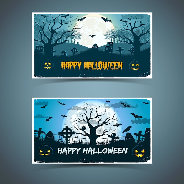 Happy halloween cards with white frame animals old trees cemetery on huge moon Free Vector