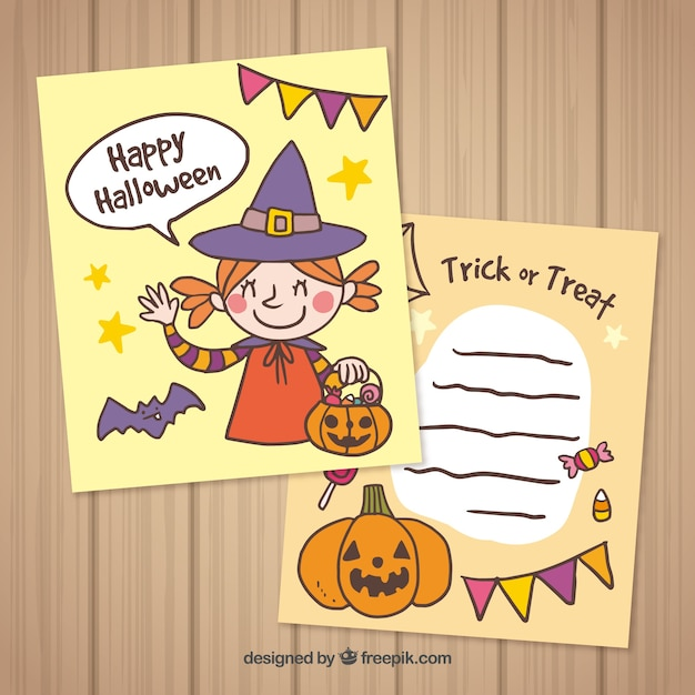 Happy Halloween Cards With Witch And Pumpkin Free Vector