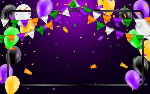 Счастливый фон карнавала хэллоуина. оранжевые фиолетовые флаги гирлянды, концепция конфетти для вечеринки. празднование Premium векторы