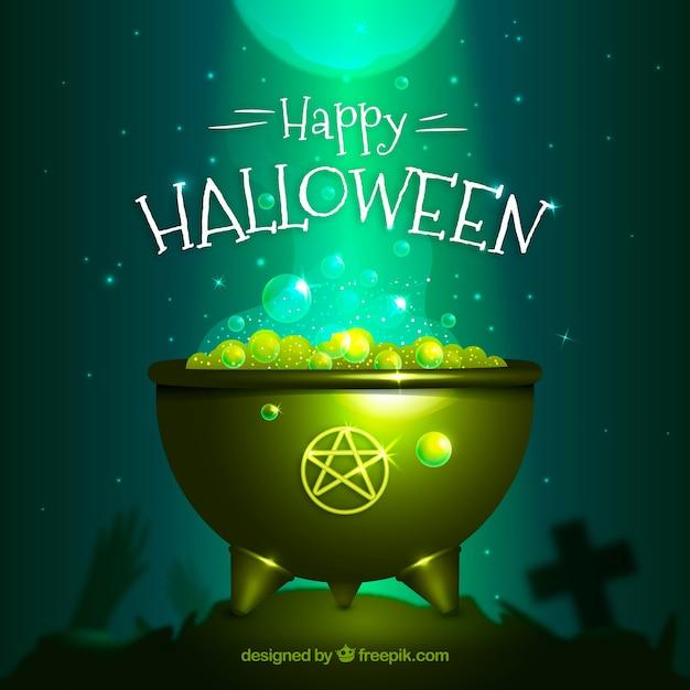 Happy halloween cauldron background Free Vector