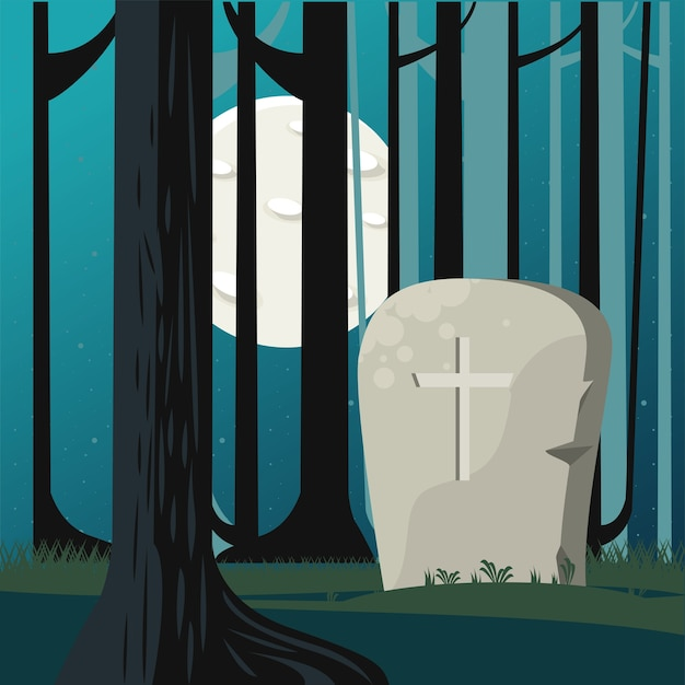 Happy halloween celebration card with grave in forest scene. Premium Vector