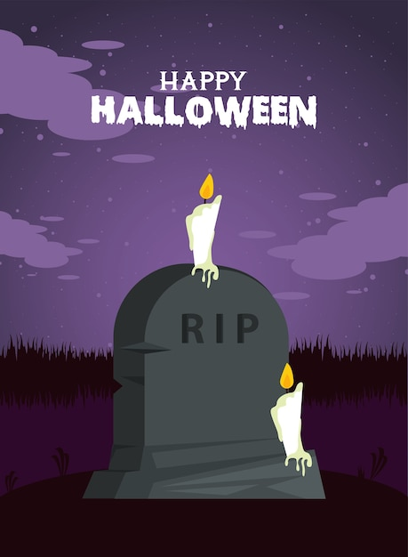 Happy halloween celebration card with grave stone and candles Premium Vector