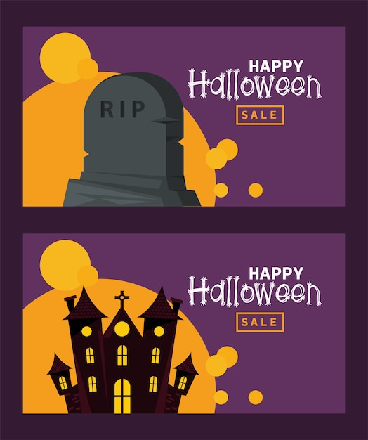 Happy halloween celebration card with haunted castle and tomb stone Premium Vector