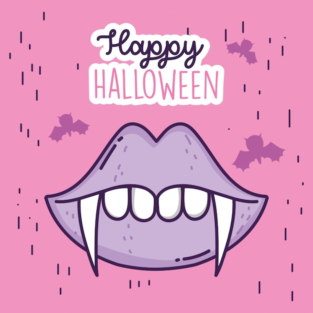 Happy halloween celebration mouth teeth dracula Premium Vector