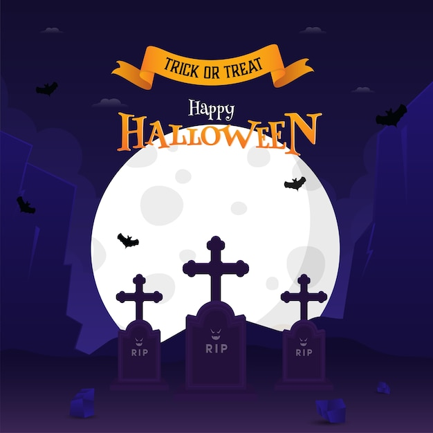 Happy halloween celebration poster design Premium Vector