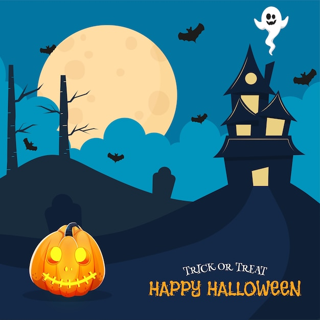 Happy halloween celebration poster  with haunted house, cartoon ghost, flying bats and jack-o-lantern on full moon blue background. Premium Vector