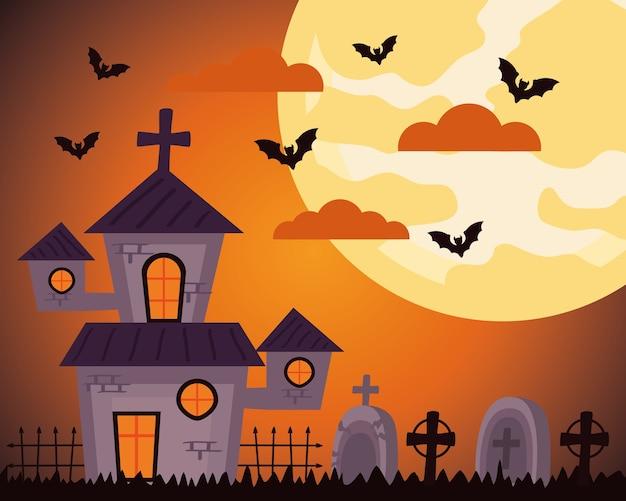 Happy halloween celebration with haunted castle in cemetery Premium Vector