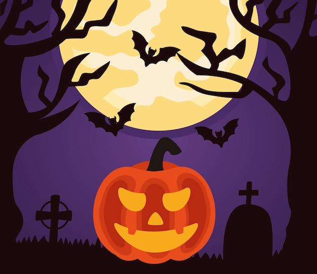 호박과 박쥐가 묘지에서 날아 다니는 해피 할로윈 축하 프리미엄 벡터