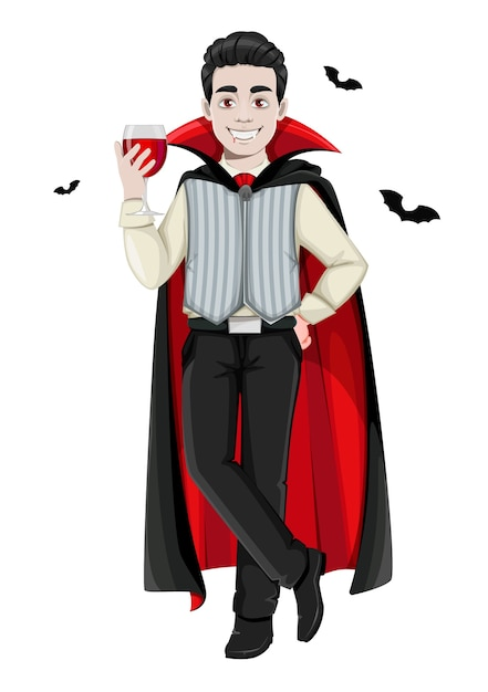 Happy halloween. cheerful vampire cartoon character Premium Vector