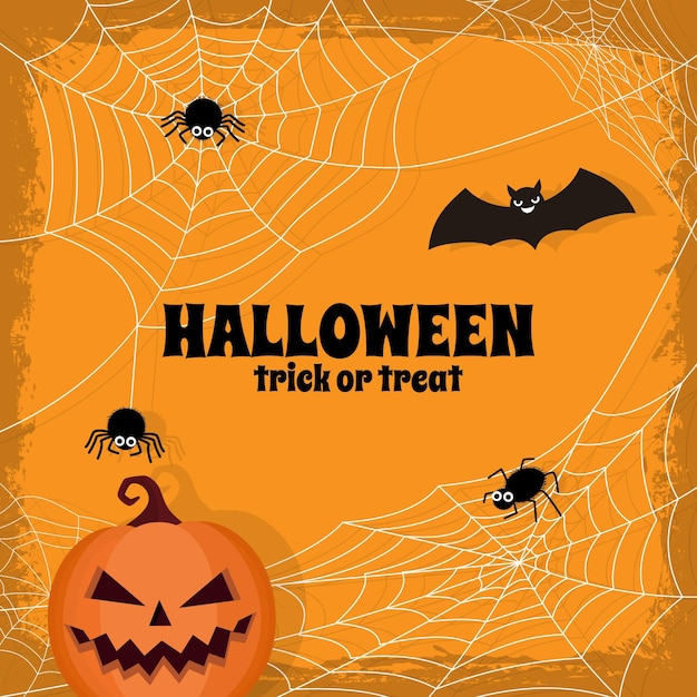 Happy halloween cobweb background theme Free Vector