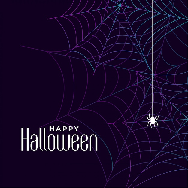 Happy halloween cobweb background with spider Free Vector